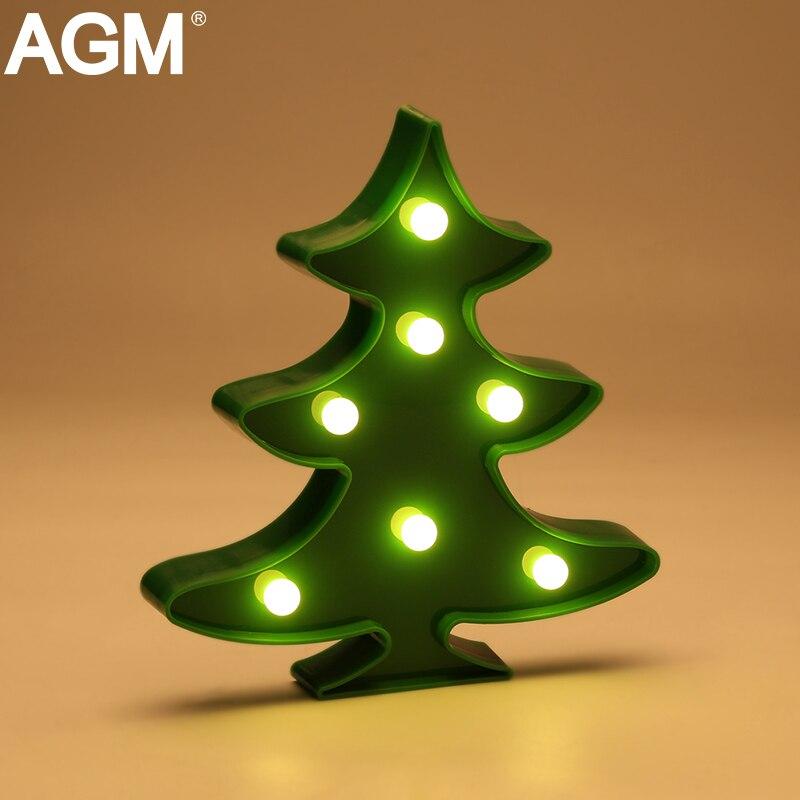 AGM Рождество елка светодиодный свет ночи 3D торшер шатер письмо свет Батарея работает для детей подарки Главная партия украшение