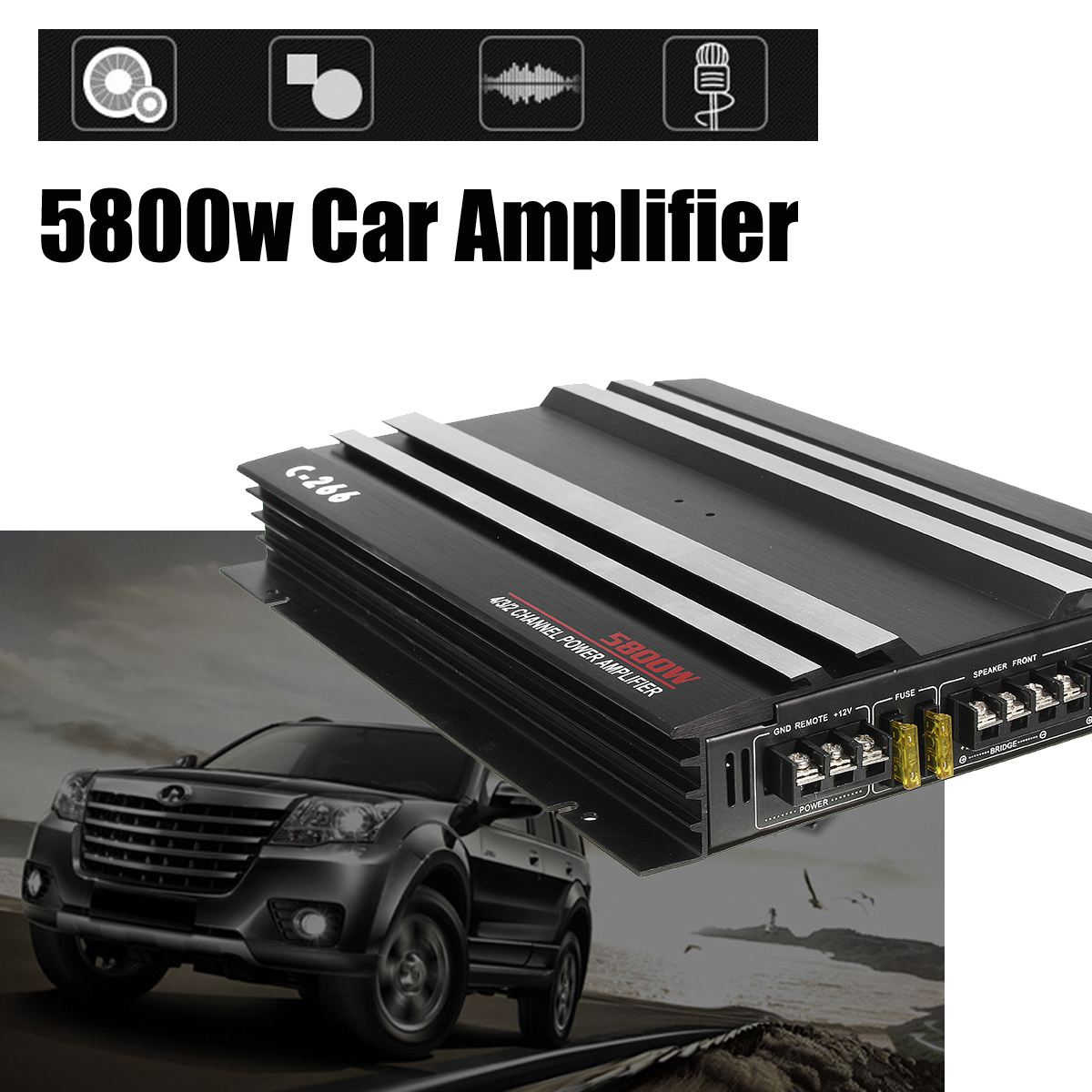 KROAK 13.8V 5800W Aluminum Alloy Car Audio Power Amplifier 4 Channel Black Stereo