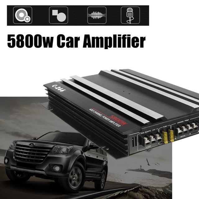 Best Offers KROAK 13.8V 5800W Aluminum Alloy Car Audio Power Amplifier 4 Channel Black Stereo