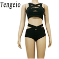 Summer Sexy 2 Piece Outfits For Women Bodysuit Sets Chest Cross Straps Crop Top Shorts Beach Two Pieces Jumpsuit Club Party SJM