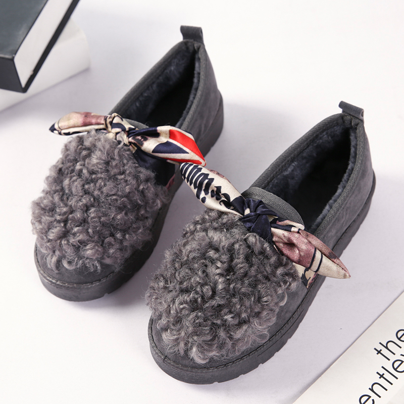 Free Shipping 2017 New Warm winter women shoes Snow Boots Female Floor Shoes Bow-knot Fleece Indoor Shoes Flats Casual shoes