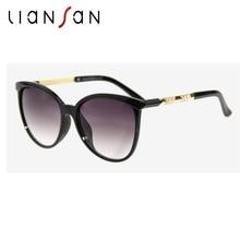 Liansan Винтаж Негабаритных кошачий глаз поляризационные Солнцезащитные очки для женщин Для женщин Роскошные Брендовая дизайнерская обувь для вождения Защита от солнца Очки ПК объектив очки LSZ15125
