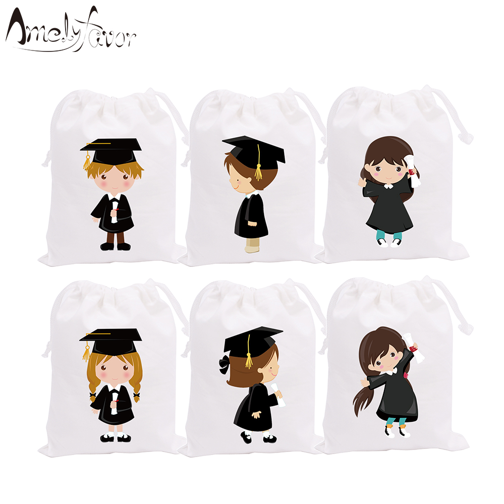 Graduation Theme Boys Girls Party Favor Bags Gift Bags Students Graduation Congratulations Party Container Supplies