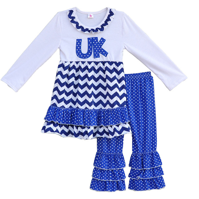 Factory Selling Girls Spring Boutique Clothing Round Neck UK Letter Pullover Tops Ruffle Leggings Kids Outfits Clothes Sets F062