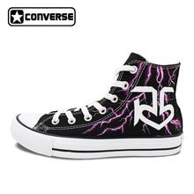 R5 Converse All Star Women Men Shoes Custom Lightning Design Hand Painted High Top Black Canvas