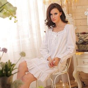 Image 4 - מותג שינה טרקלין נשים הלבשת כותנות לילה כותנה סקסי Robe בית בנות כתנות לילה לבן ארוך בתוספת גודל ארוך שינה