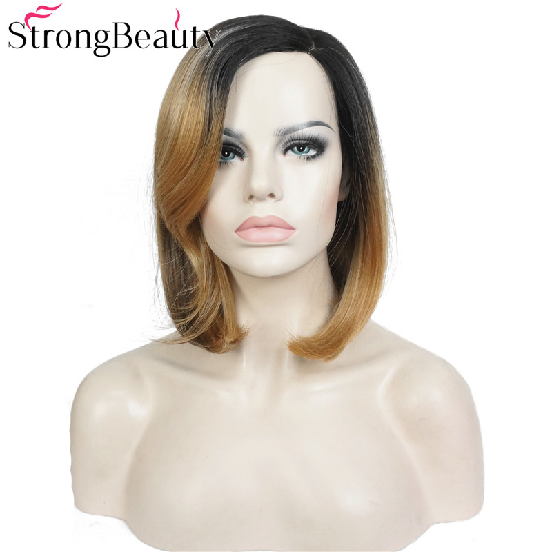 StrongBeauty Bob Lace Wig Συνθετικές Straight Ombre - Συνθετικά μαλλιά - Φωτογραφία 3