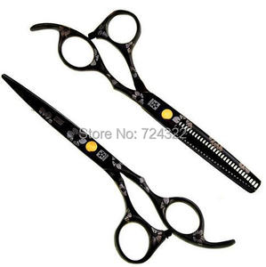 Профессиональные Парикмахерские ножницы из стали 440c 6 и 5,5 дюйма, набор ножниц для стрижки и филировки волос, Черные ножницы для волос