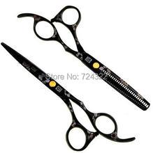 Professional 6 & 5.5 inch 440c steel hairdressing scissors shears set barber hair cutting thinning scissors hair scissors black