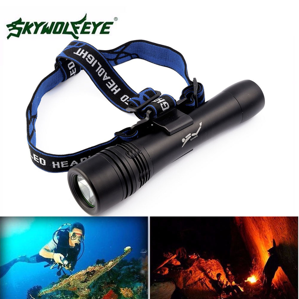 SKYWOLFEYE XM-L T6 LED Diving Flashlight Torch 500LM Waterproof Underwaterproof Camping Flash Light for Diver 3800 lumens cree xm l t6 5 modes led tactical flashlight torch waterproof lamp torch hunting flash light lantern for camping z93