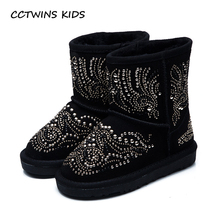 CCTWINS KIDS 2017 Toddler Girl Baby Brand Crystal Ankle Snow Boot Kid Fashion Children Genuine Leather Black Booties C1201