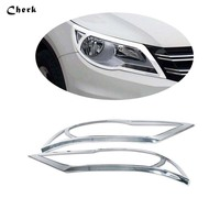 For Volkswagen VW Tiguan 2009 2010 2011 2012 ABS Chrome Front Head Light Lamp Headlight Cover Trim 2pcs Quality product