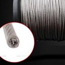 0,8-2 мм 50-200 м, 7X7 304 проволочный Канат из нержавеющей стали с ПВХ покрытием мягче рыболовный кабель с покрытием бельевая веревка Тяговый канат