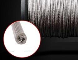 0.8 -- 2mm 50--200m, 7x7 304 corda de fio de aço inoxidável com revestimento de pvc mais suave pesca revestido cabo varal corda de tração