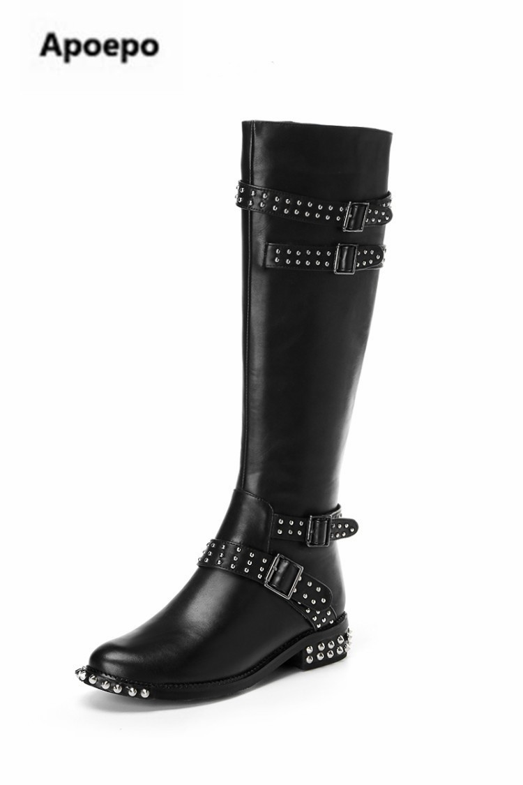 Apoepo brand women black leather suede long boots round toe flats over the knee boots women rivet riding boots women winter shoe women s winter platform flats over the knee boots brand designer genuine suede leather patchwork elastic long boots shoes women