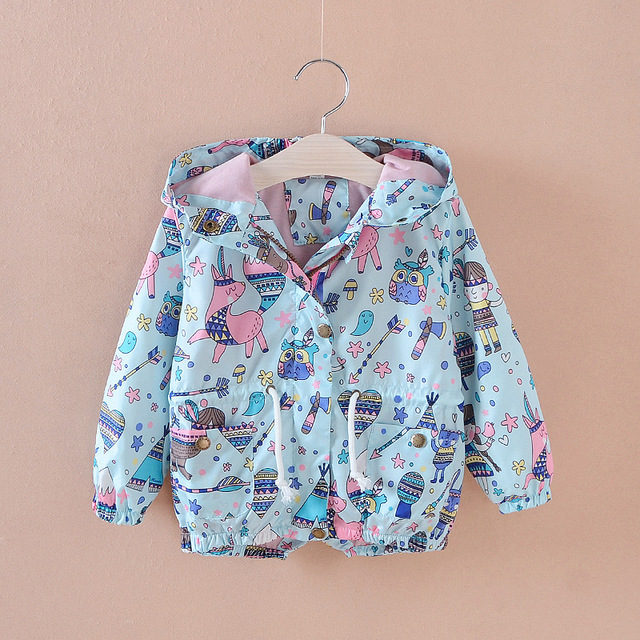65f00dfec7628 Girl windbreaker spring and summer children's wear graffiti rabbit windproof  jacket sunscreen