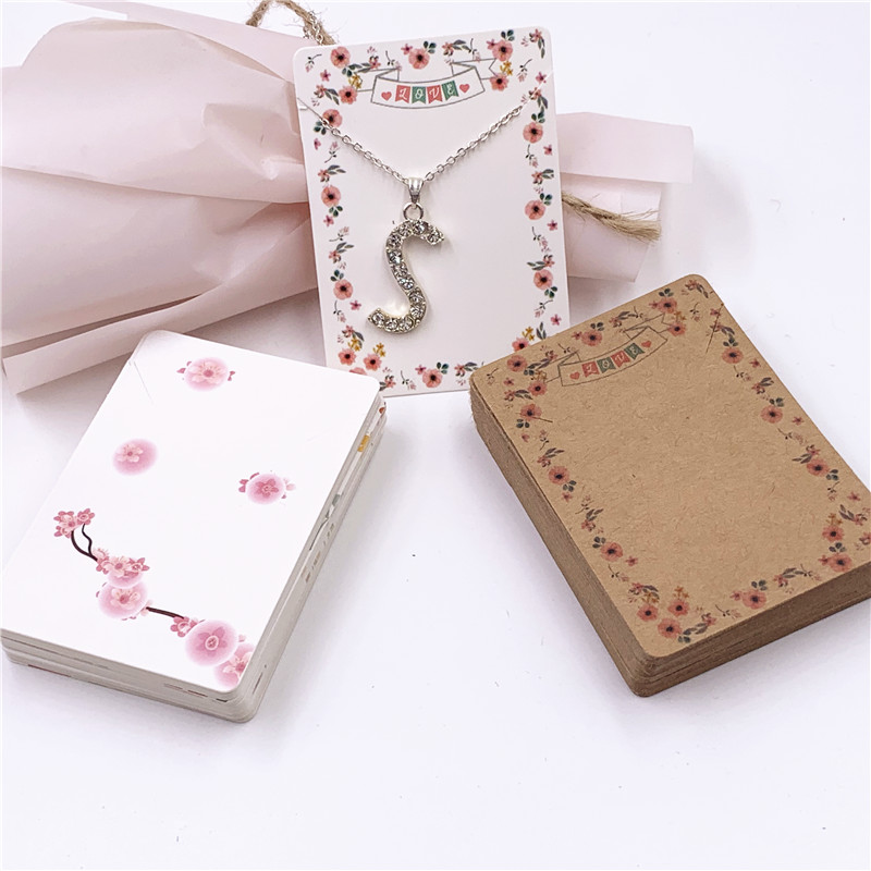 100 Pcs/lot Fashion Handmade With Love Necklace Cards Flower Cardboard Jewelry Displays Cards Chain Packing Cards 7x5cm