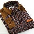Otoño caliente de los nuevos hombres ocasionales adelgazan las camisas de tela escocesa del remiendo Da Vuelta-abajo masculina de manga Larga camisa de algodón más tamaño S-4XL