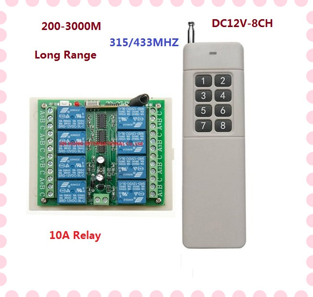3000m Long Range DC12V 8CH Radio Controller RF Wireless Remote Control Switch 315/433 Transmitter + Receiver Remote RC TX RX 433mhz dc12v 8ch channel wireless rf remote control switch transmitter receiver