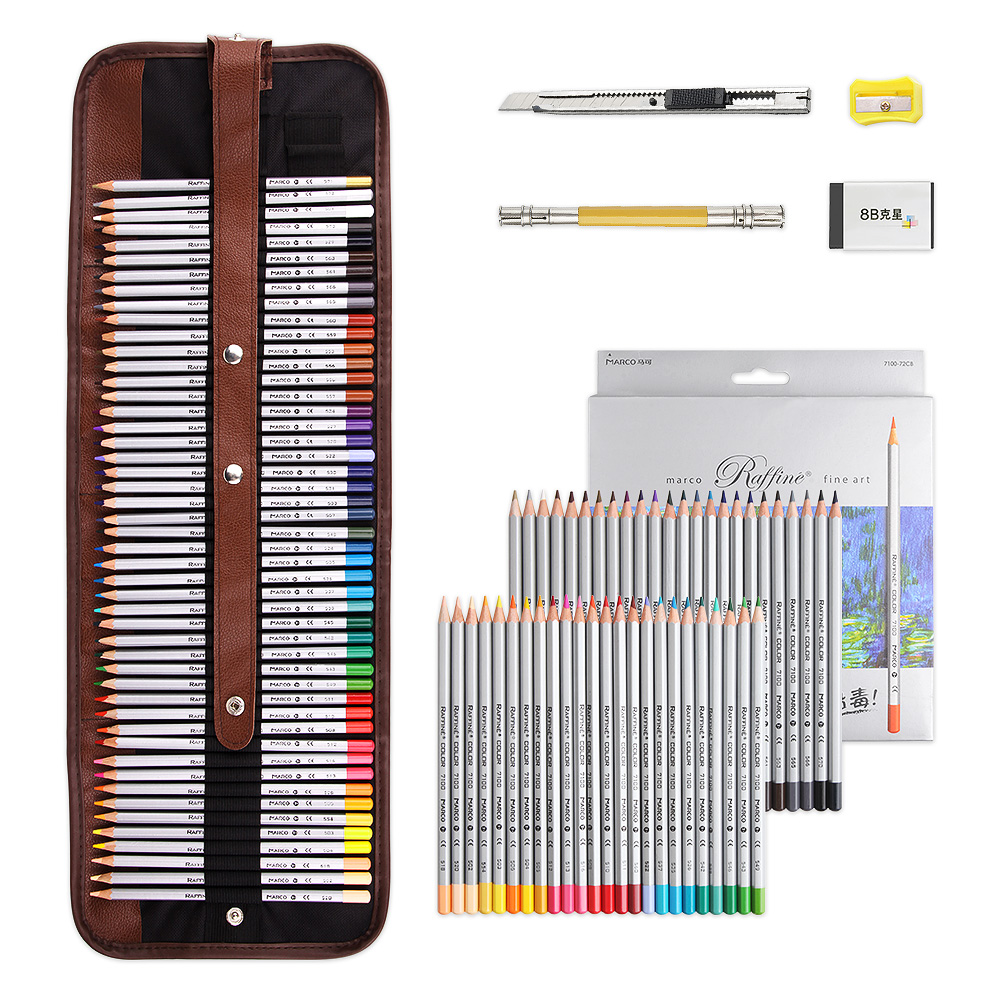 Marco Raffine Color Pencil Drawing Art Supplies with Roll UP Washable Canvas Pencil Bag 48/72 Colored Pencils Set|drawing art supplies - title=