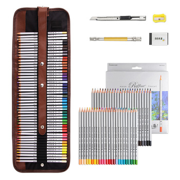 Marco Raffine Color Pencil Drawing Art Supplies with Roll UP Washable Canvas Pencil Bag 48/72 Colored Pencils Set