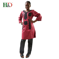 H&D African new fashion embroidery dresses long dress without scarf soft material with pants (free shipping)