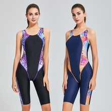 One-Piece Swimsuit Women Competition Training Knee Length Swimwear Bodysuit Racing Tight Sharkskin Athletic Diving Swimming Suit nsa racing swimsuit women swimwear one piece competition swimsuits competitive swimming suit for women swimwear sharkskin arena