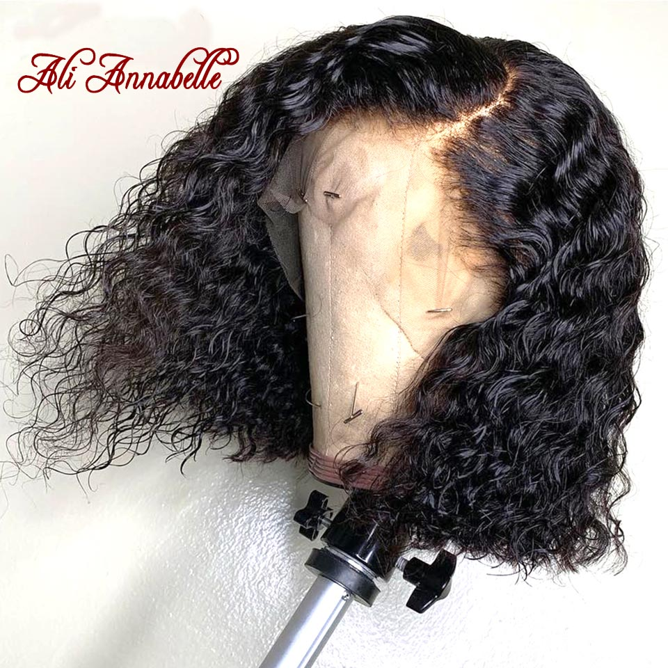 Lace Front Human Hair Wigs Peruvian Deep Wave Human Hair Short Bob Wig with Pre Plucked Hairline 150% Density Hair Wigs (2)