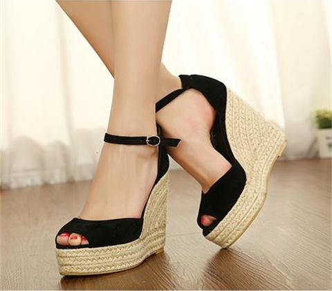 Model Womens Wedge Shoes Wedges High Heels Platform Smart Pumps Ankle Strap