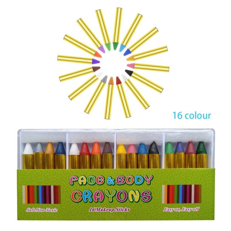 Halloween Gifts For Kids Face Painting Crayon Skit 16 Colors Children Safe Face Body Paint Crayons Pencils Kit Set Makeup
