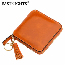 EASTNIGHTS Cowhide Leather Mini Tassel Women Wallet Lady Short Pocket Coin Purse Card Holder Female TW1330