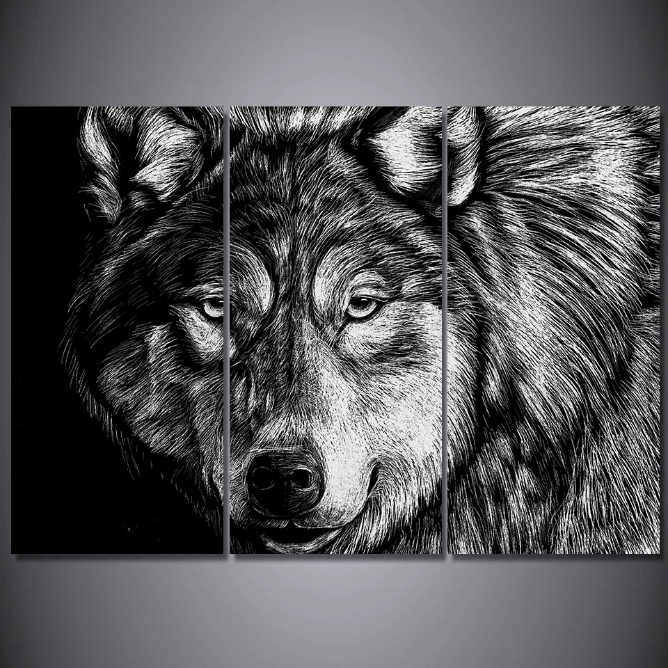 Black And White Artwork For Bedroom Us 35 87 8 Off 3 Pieces Wolf Poster Black White Wall Art Canvas Pictures For Living Room Bedroom Home Decor Printed Canvas Paintings In Painting