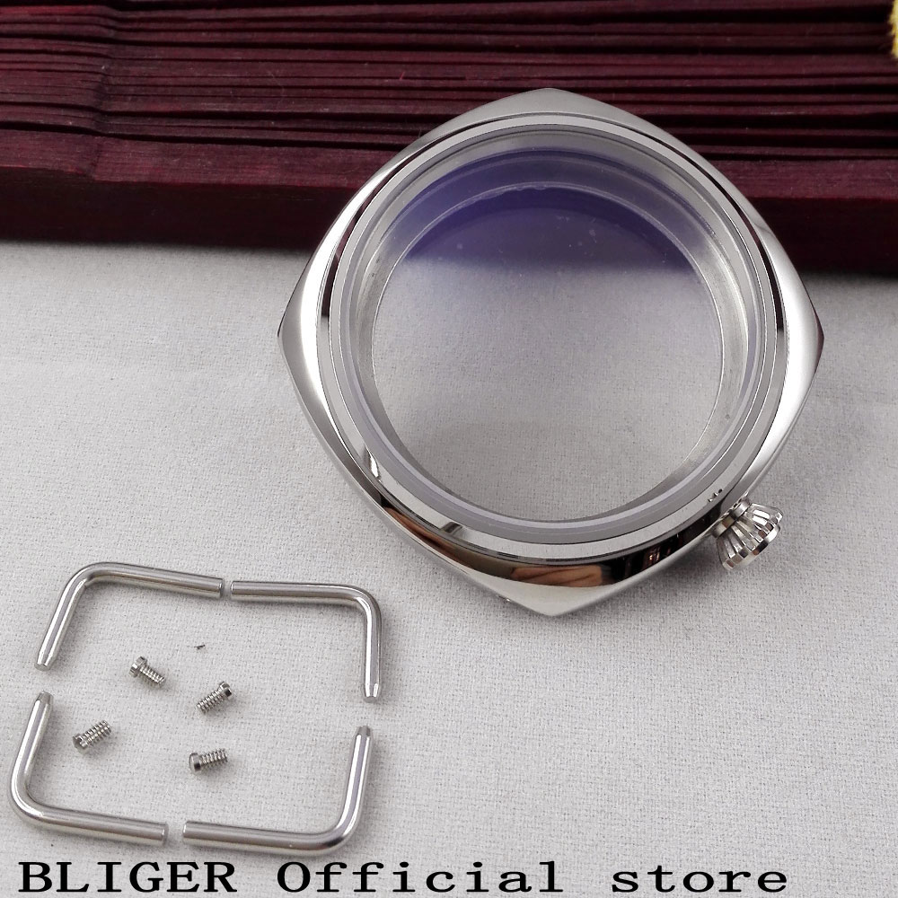 45mm polished Bliger stainless steel crystal watch case fit ETA 6497 6497 movement C145mm polished Bliger stainless steel crystal watch case fit ETA 6497 6497 movement C1