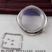 45mm polished Bliger stainless steel crystal watch case fit ETA 6497 6497 movement C1