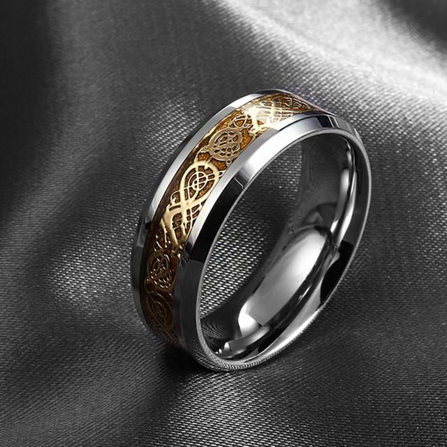 Men Stainless Steel Dragon Ring