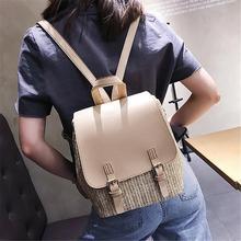 купить Simple Stylish Backpack Student College Fashion Contrast Color Woven Unique Versatile Travel Vacation School Girls Weaving Bags дешево