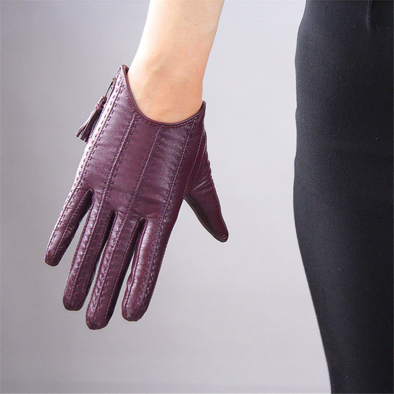 Touch Screen Gloves Genuine Leather Pure Imported Goatskin Tassel Zipper Short Style Dark Purple Female Touch Function WZP16