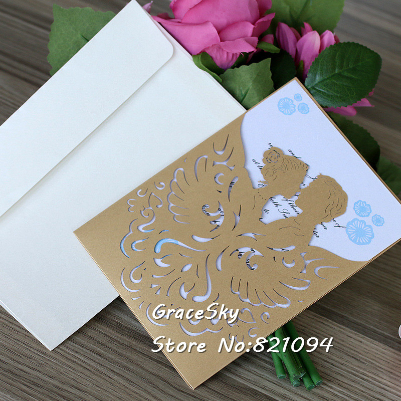 50pcs Free Shipping laser cut gold 24colors hollow Bride&Groom desgin pocket style Paper ...