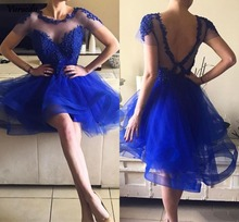 цены Blue Short Homecoming Dresses Beaded Jewel Neck Short Sleeves Backless Graduation Dress Tiered A Line Prom Gowns Party Dres