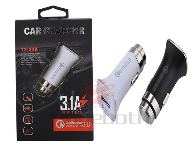 New QC3.0 Quick Charge With USB Fast Car Charger Aluminum Shell Safety Hammer Universal Adapter Car Charger With Retail Box