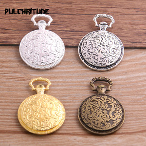 PULCHRITUDE 4pcs Four Color Pocket Watch Round Cabochon Base Pendant Blanks Settin 27*38mm(Fit 20mm) Metal Jewelry Blanks T6757(China)