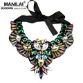 MANILAI Luxury Crystal Necklace Owl Design Maxi Choker Statement Collar Necklaces & Pendants Women Evening Dress 2016 CE2509