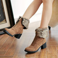 Woman Booties Zipper Folded Fur Ankle Chunky Heel Knight Women Boots Autumn Winter High Block Heel Ladies Warm Shoes