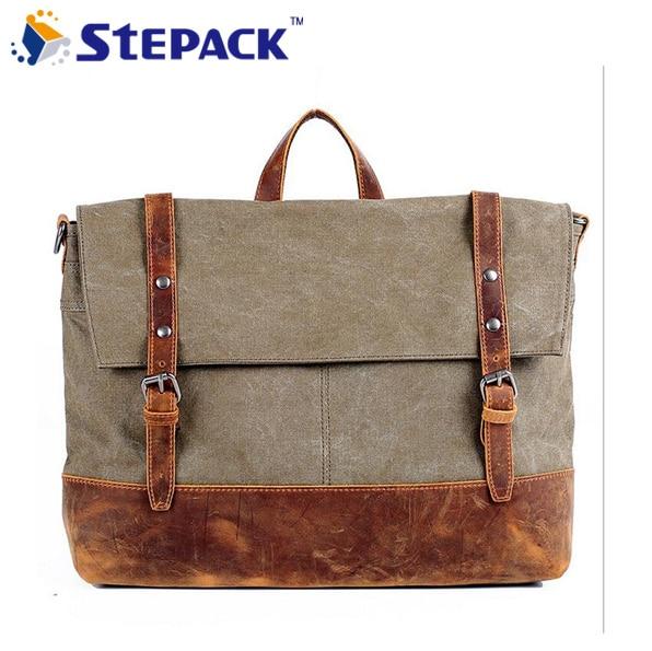 New 2017 Style Vintage Canvas Crazy Horse Leather Men Messenger Bags Casual Canvas Men's TraveL Bag Briefacase Handbag WMB0187 casual canvas satchel men sling bag