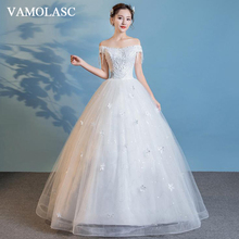 VAMOLASC Crystal Boat Neck Lace Ball Gown Wedding Dresses Tassel Beading Short Sleeve Backless Bridal Gowns