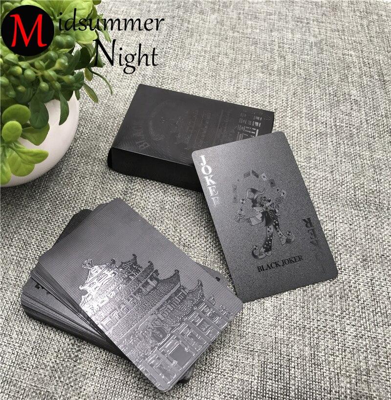 54 piezas impermeable de plástico negro jugando colección de tarjetas de Diamante Negro tarjetas regalo creativo cartas estándar