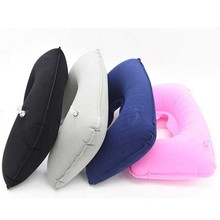 цена на U Shaped Travel Pillow Portable Travel Inflatable Neck Pillow PVC Flocked For Office Nap Head Rest Air Cushion Home Textile