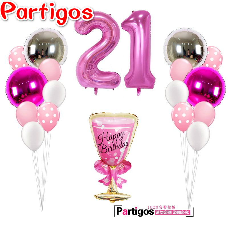 19pcs lot 40 39 39 number 21 year old adult balloons girl 39 s for 40 year old birthday decoration ideas