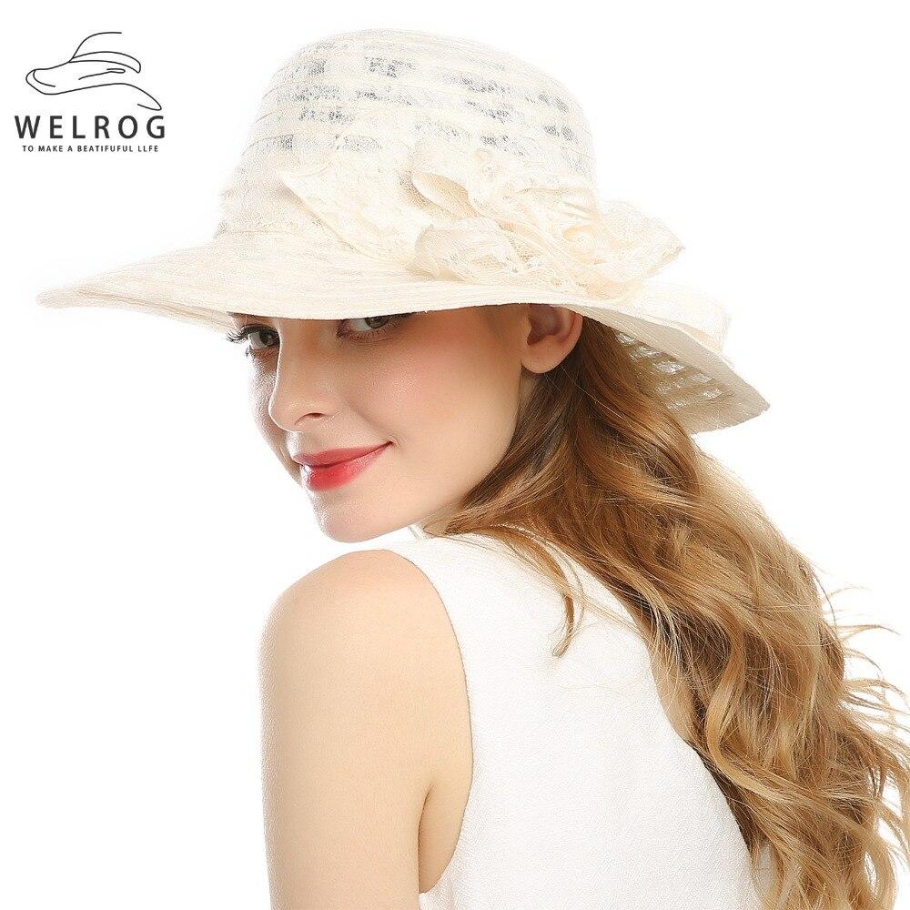 54aab651dc1 WELROG Lady Derby Dress Church Cloche Hat Bow Bucket Wedding Bowler Hats  Wide Brim UV Protection Summer Beach Visor Cap