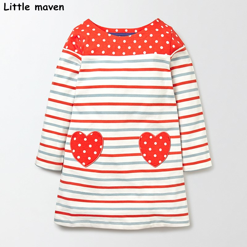 Little maven kids brand clothing 2017 autumn baby girls clothes Cotton cloth heart striped girl long